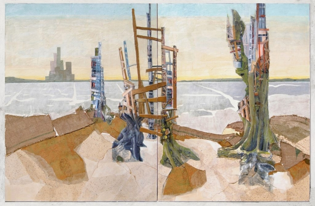 Habitat #2 (View from the Hills) 2018 Mixed media collage and drawing on 2 panels 48 x 72 inches