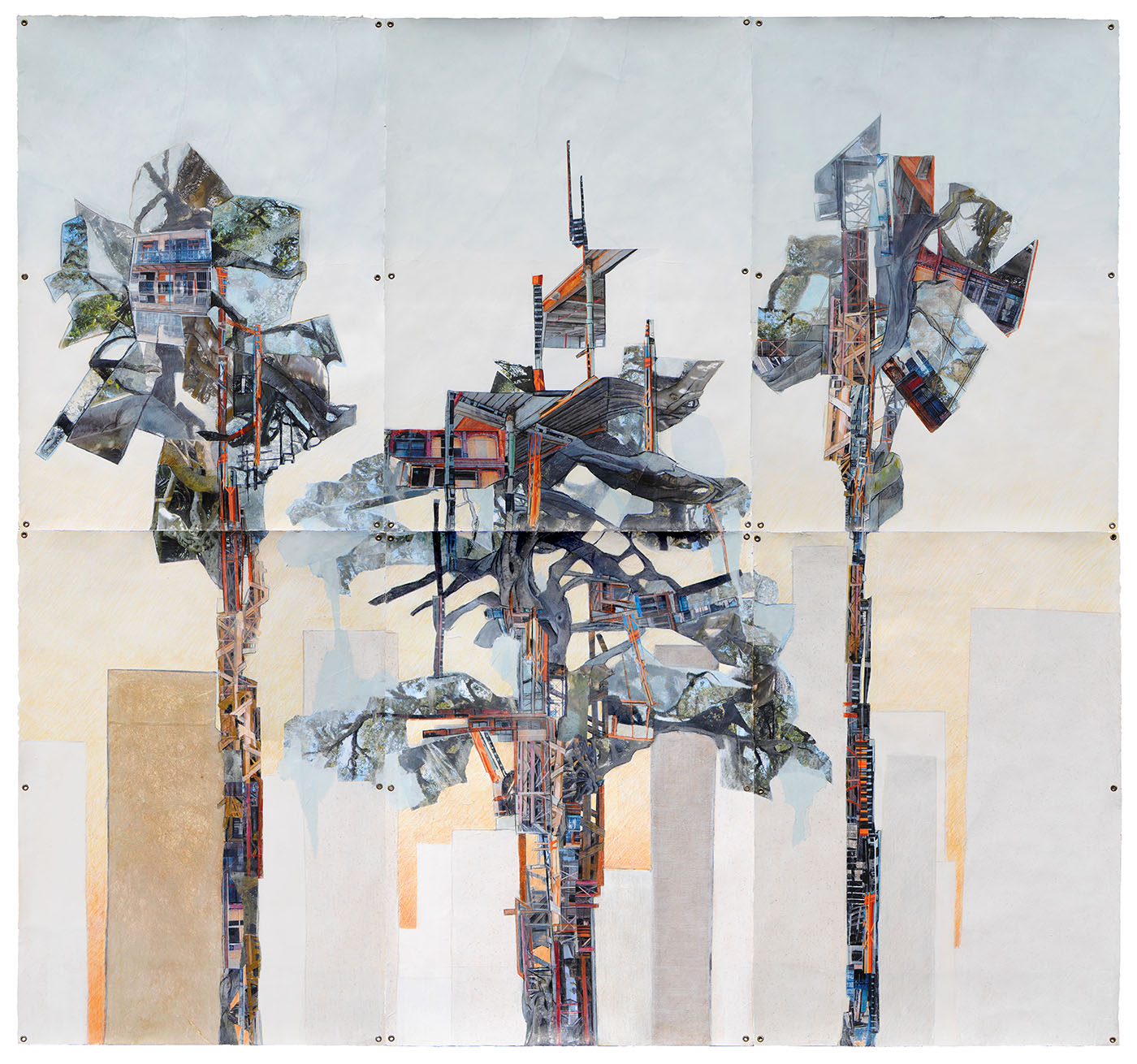 Habitat 2017 Mixed media paper collage and drawing on 6 sheets Stonehenge paper 88 x 90 inches