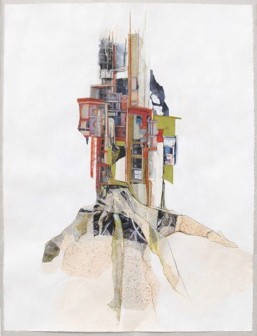 Population Density Core 2014 Mixed media paper collage and drawing on Stonehenge paper 50 x 38 inches